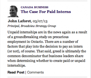 John Laforet - The Case for Paid Internships