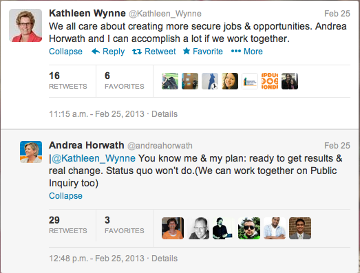Kathleen Wynne and Andrea Horwath Twitter Exchange Feb 25