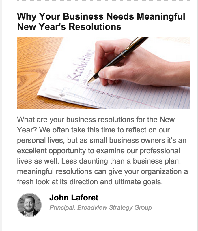 John Laforet - Business Goals for the New Year
