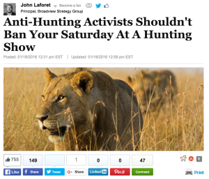 John Laforet - Huffington Post - Hunting Activists